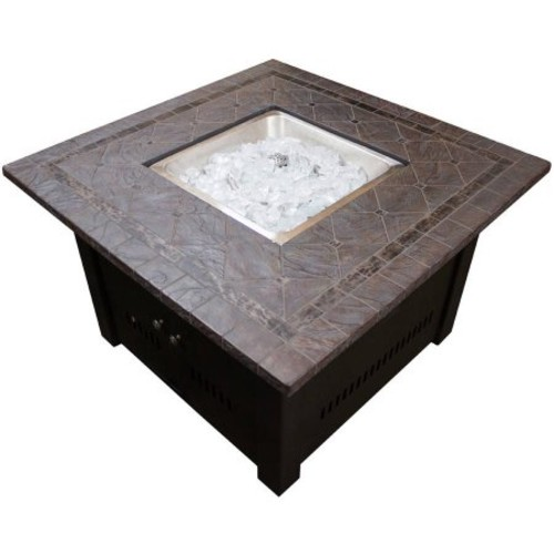 Hiland Square Fire Pit with Faux Stone Top