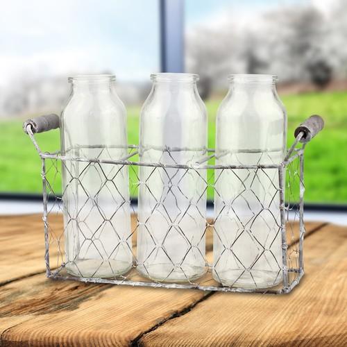 Stonebriar Collection Decorative Milk Bottle & Farmhouse Basket 4-piece Set