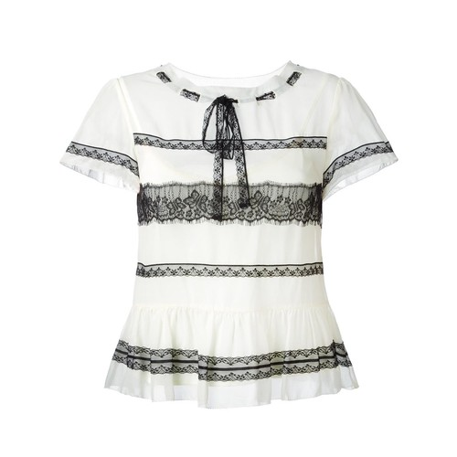 RED VALENTINO Lace Insert Shortsleeved Blouse