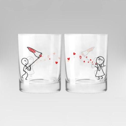 BoldLoft Catch My Love Couple 12 oz. Drinking Glass (Set of 2)