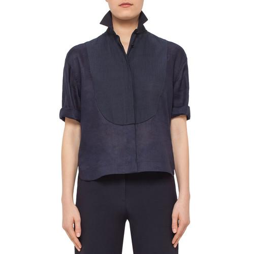 AKRIS PUNTO Half-Sleeve Pintucked Linen Blouse, Navy