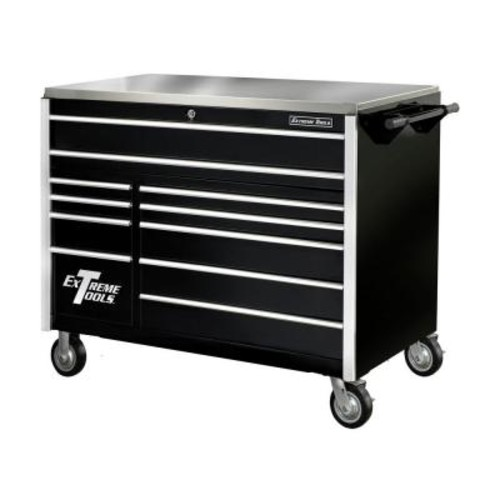Extreme Tools 55 in. 11-Drawer Professional Roller Cabinet with Stainless Steel Work Surface, Black
