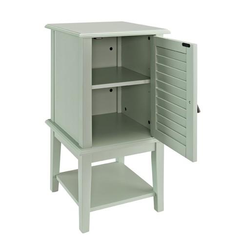 Powell Furniture Popular Shutter Door Agua Functional Accent Storage Side Table Cabinet Shelf Shelves