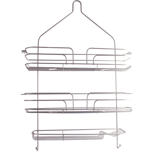 LDR Industries Shower Caddy with Wide Body Satin Nickel Finish