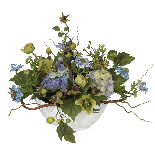 Nearly Natural Hydrangea Centerpiece Silk Flower Arrangement