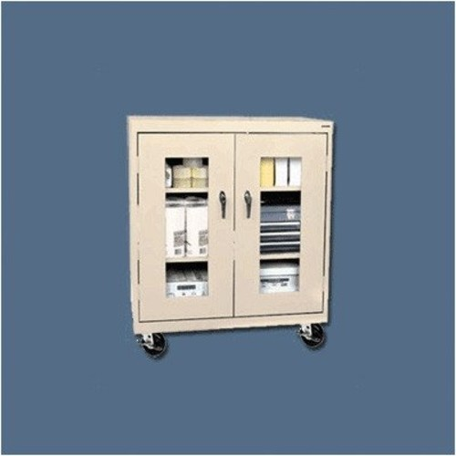 Sandusky Lee TA2V462442-09 Elite Series Transport Mobile Clear View Counter Height Storage Cabinet, Black [Black]