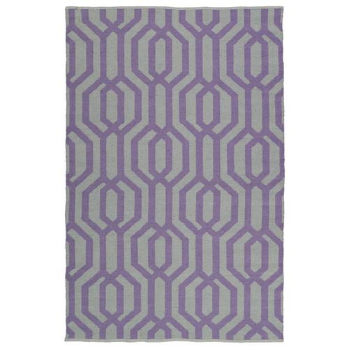 Indoor/Outdoor Laguna Grey and Lilac Geo Flat-Weave Rug (3' x 5')