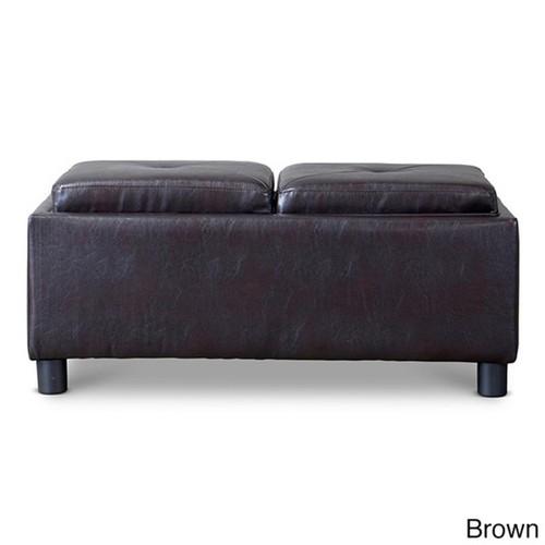 Baxton Studio Billiard Rectangular Dark Brown Bonded Leather Storage Ottoman with Serving Trays
