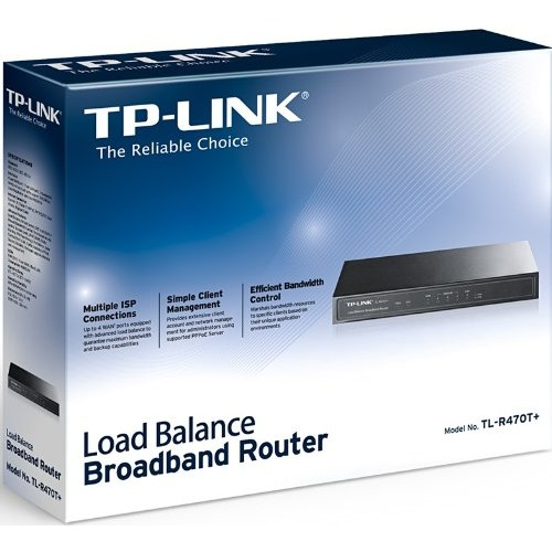 TP-Link SafeStream TL-R470T+ Fast Ethernet Load Balance Broadband Router, Multi-WAN, 96M NAT throughput, 30k Concurrent Sessions, 256 DHCP Clients [Fast Ethernet Multi-WAN]