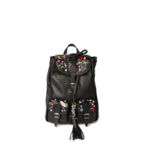 SAINT LAURENT Festive Small Embellished Leather Backpack