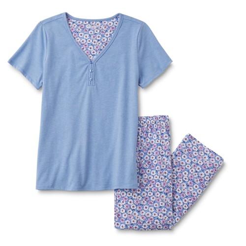 Laura Scott Women's Short-Sleeve Pajama Shirt & Pants - Floral