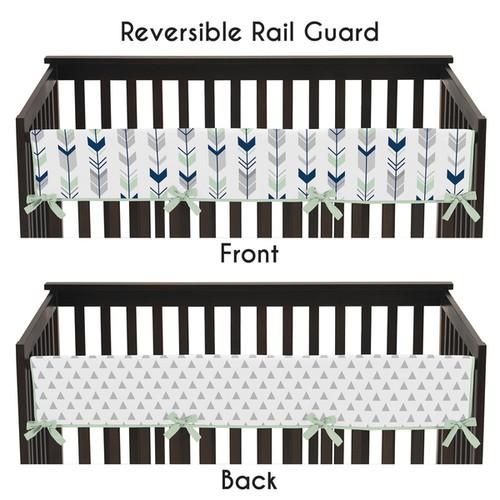 Sweet Jojo Designs Grey and Mint Mod Arrow Collection Long Crib Rail Guard Cover