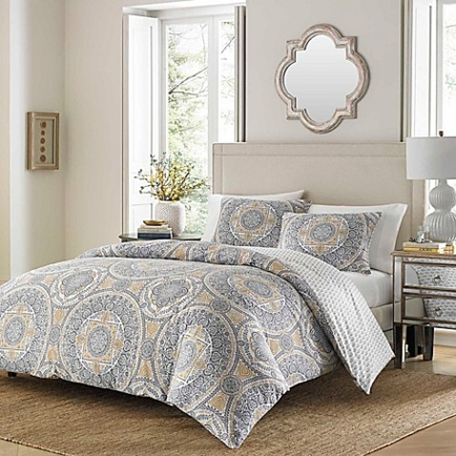Stone Cottage Ibiza Reversible Full/Queen Duvet Cover Set in Grey