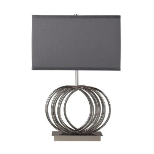 Titan Lighting Ekersall 22 in. Chrome Table Lamp with Grey Faux Silk Shade