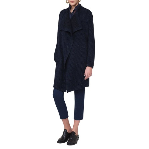 AKRIS PUNTO Belted Diagonal-Ribbed Coat, Blue