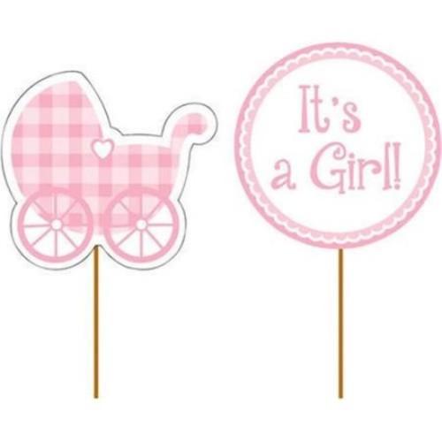 Creative Converting 093229 Baby Girl Cupcake Picks - Case of 144