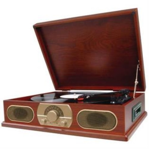 STUDEBAKER SB6052 Wooden Turntable with AM FM Radio Cassette Player