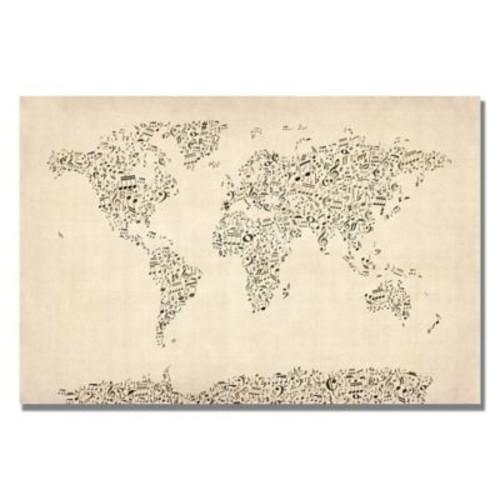 Trademark Fine Art Michael Tompsett 'Music Note World Map' Canvas Art 18x24 Inches