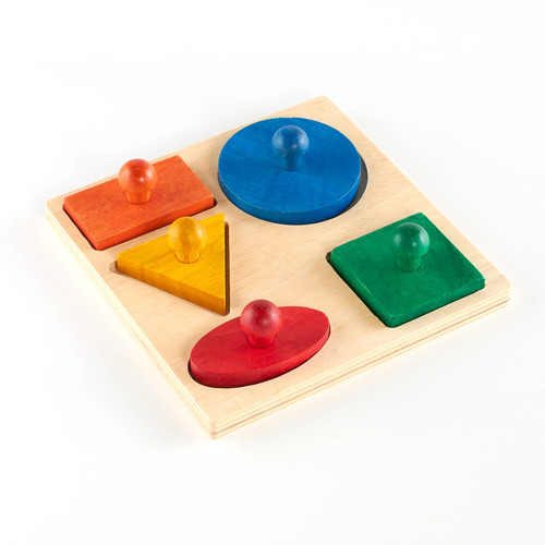 Guidecraft - Hardwood Geometric Puzzle Board - 5 Shapes [Multicolor, None]