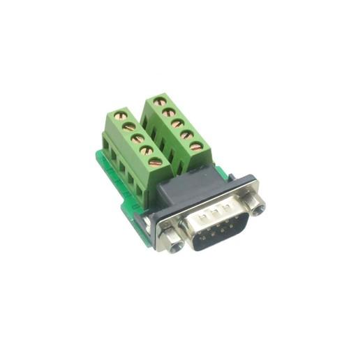 1pce DB9 D-SUB VGA male plug 9pin port Terminal Breakout PCB RS232/485 2 row screw