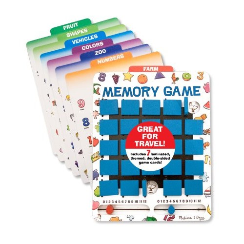 Melissa & Doug Flip to Win Travel Memory Game - Wooden Game Board, 7 Double-Sided Cards [Standard Version]