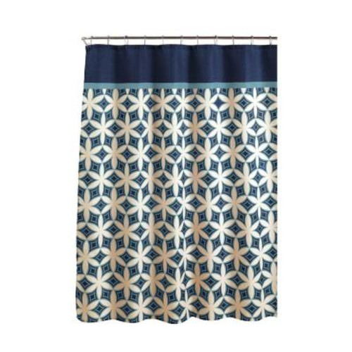 Creative Home Ideas Diamond Weave Textured 70 in. W x 72 in. L Shower Curtain with Metal Roller Rings in Harajuku Blue