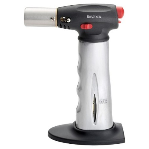 BonJour Brushed Aluminum Chef's Torch with Fuel Gauge