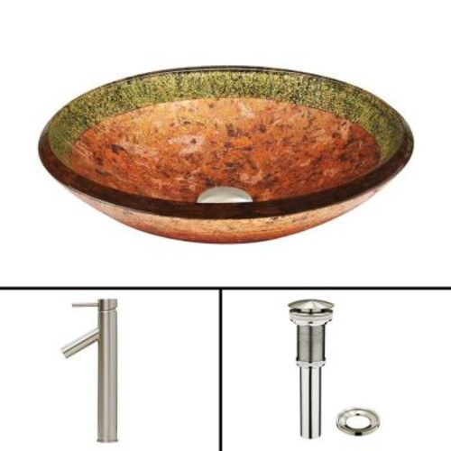 VIGO Glass Vessel Sink in Janus and Dior Faucet Set in Brushed Nickel