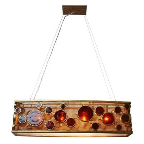 Varaluz Fascination 4-Light Kolorado Ore Linear Pendant with Amber Glass
