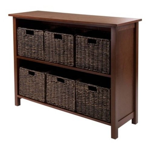Winsome Granville 2-Section 7-Piece Storage Shelf Wide with 6-Foldable Baskets [Walnut/Chocolate, chocolate baskets]