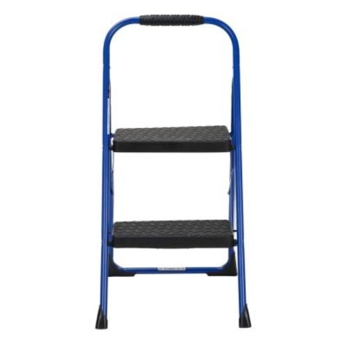 Cosco 2-Step Steel Big Step Folding Step Stool with Type 3 Rubber Hand Grip in Blue