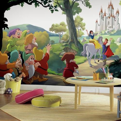 RoomMates 72 in. x 126 in. Disney Princess Snow White Happily Ever After XL Chair Rail 7-Panel Prepasted Mural