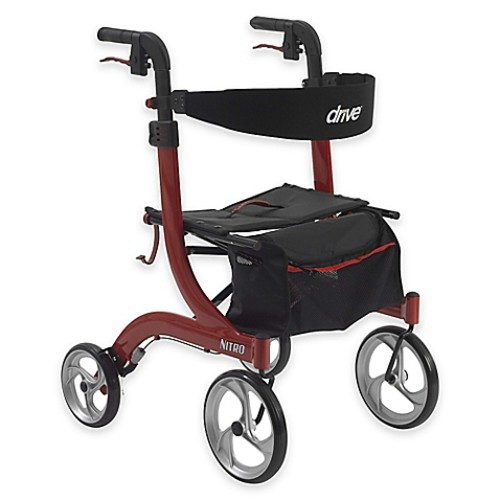 Drive Medical Nitro Euro-Style Rollator Walker in Red
