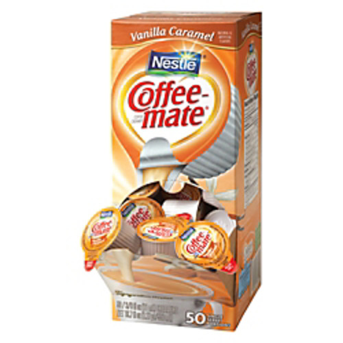 Nestle Coffee-mate Liquid Creamer Singles, Vanilla Caramel, 0.38 Oz, Box of 50