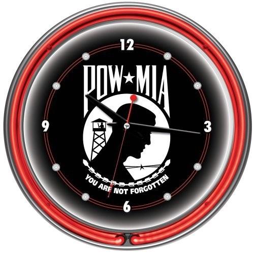 POW Chrome Double Ring Neon Clock, 14