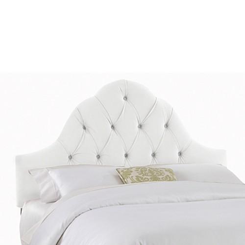 Skyline Furniture Full Arch Tufted Headboard in Velvet White