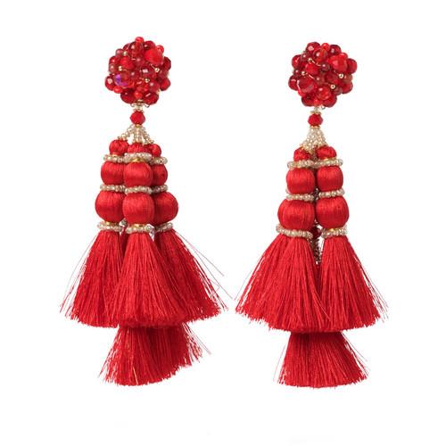 Red Embellished Tassel Earrings