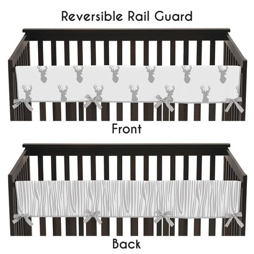 Sweet Jojo Designs Grey and White Stag Collection Long Crib Rail Guard Cover