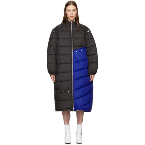 3.1 PHILLIP LIM Blue & Black Long Colorblock Puffer Coat