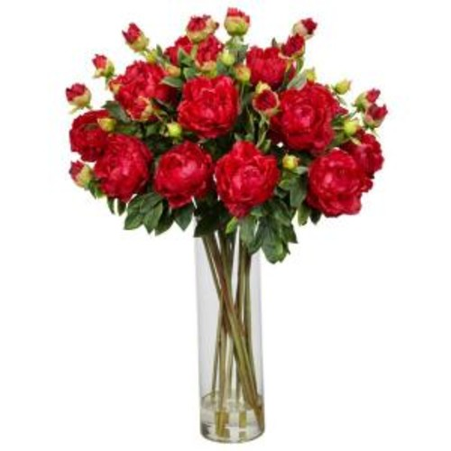 38 in. H Red Giant Peony Silk Flower Arrangement