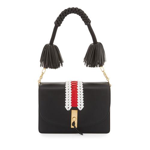ALTUZARRA Ghianda Woven Leather Shoulder Bag, Black