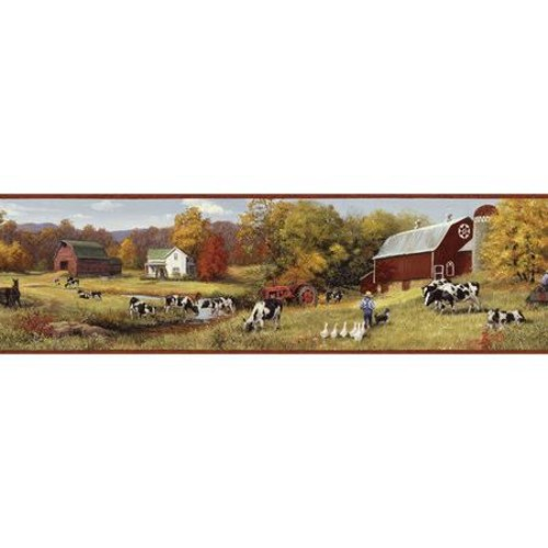 Brewster Home Fashions Borders by Chesapeake Herman Cow Pasture Portrait 15' x 6.83'' Scenic 3D Embossed Border Wallpaper