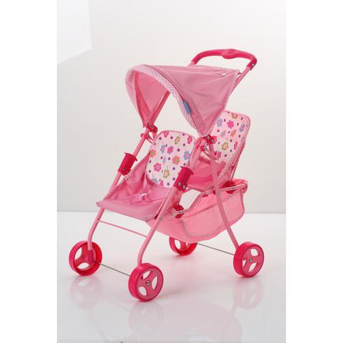Spring Tandem Twin Doll Stroller - Pink