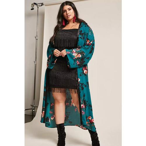 Plus Size Floral Chiffon Longline Kimono