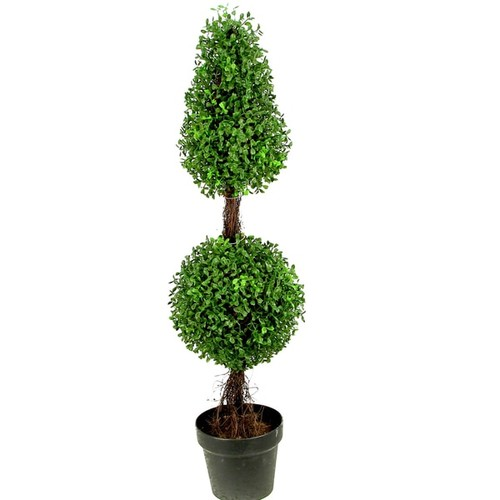 Admired By Nature 3-feet Artificial Sculpted Boxwood Potted Topiary - Green