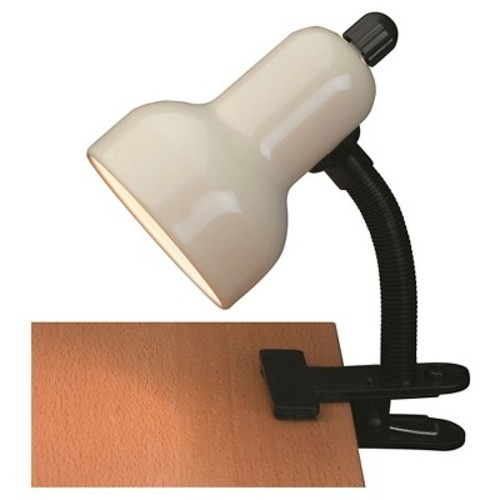 Lite Source Clip-On 1 Light Table Lamp with Ivory Shade - Black