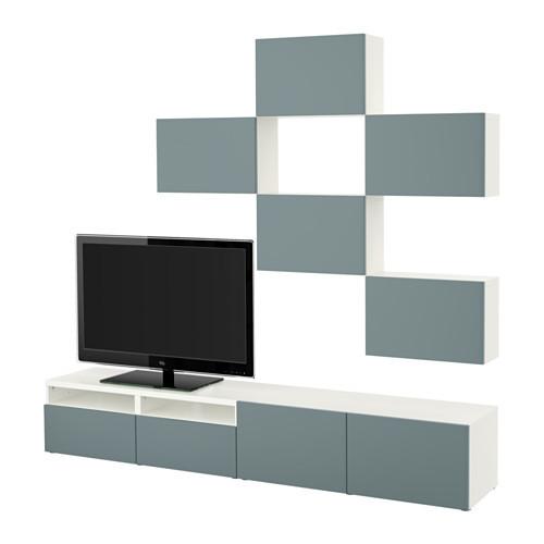 BEST TV storage combination, white, Valviken gray-turquoise [drawer : drawer runner, soft-closing]