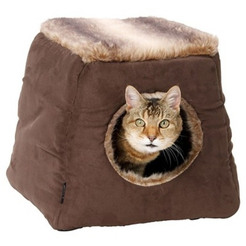 House of Paws Coco Faux Arctic Suede 2-in-1 Cat Bed