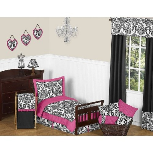 Sweet Jojo Designs Isabella Hot Pink-Black and White 5 pc. Toddler Bedding Set