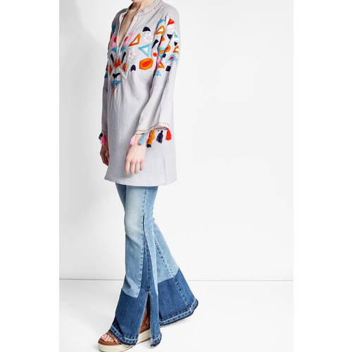 Embroidered Cotton Tunic with Tassels